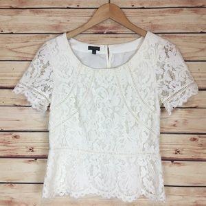 Talbots Lace Peplum Blouse White Short Sleeve 4